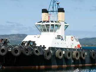 a picture of a boat with many bumper tires