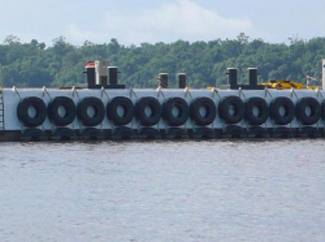a picture of bumper tires used for marine use